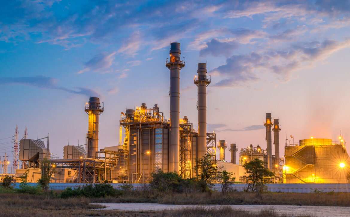 Gas,Turbine,Electrical,Power,Plant,With,In,Twilight,Power,For